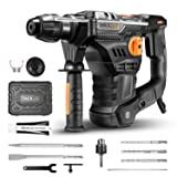 TACKLIFE 1-1/4 Inch SDS-Plus 12.5 Amp Rotary Hammer Drill, 7Joules Impact Energy, 4350BPM, 900RPM, 4 Functions, Vibration Damping Technology, Safety Clutch, Ideal for Concrete and Stones -TRH01A