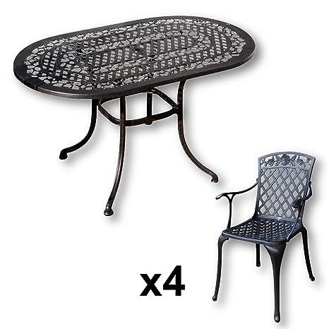 Lazy Susan - ELISE 136 x 81 cm Ovaler Gartentisch mit 4 Stuhlen - Gartenmöbel Set aus Metall, Antik Bronze (ROSE Stuhle)