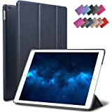 New iPad 9.7-inch 2018 2017 Case, ROARTZ Metallic Navy Blue Slim-Fit Smart Rubber Folio Case Hard Cover Light-Weight Wake Sleep For Apple iPad 5th 6th generation Retina Model A1893 A1954 A1822 A1823