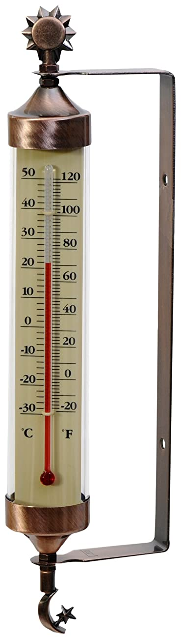 AcuRite 02309 Weathered Copper Tube Thermometer with Sun and Moon Accents 0