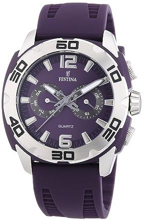 9b85556ea3 FESTINA - F16665/6 - Montre Homme - Quartz Analogique - Aiguilles  luminescentes - Bracelet Silicone Violet: 6*