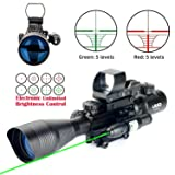 UUQ C4-12X50 Rifle Scope Dual Illuminated Reticle W/Green(RED) Laser Sight and 4 Tactical Holographic Dot Reflex Sight (12 Month Warranty) (Green Laser W/New Dot Sight) (Color: Green Laser W/ New Dot Sight)