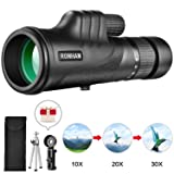 Monocular Telescope, 10-30X42 High Power HD Zoom Monoculars-BAK4 Prism FMC Optical Lens with Smartphone Adapter & Tripod, Compact Waterproof Monocular for Adults Kids Bird Watching Traveling Wildlife
