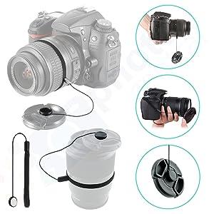 Front Center Pinch Lens Cap Cover Protector + Cap Keeper + Cleaning Cloth for Nikon AF NIKKOR 50mm f/1.8D Lens