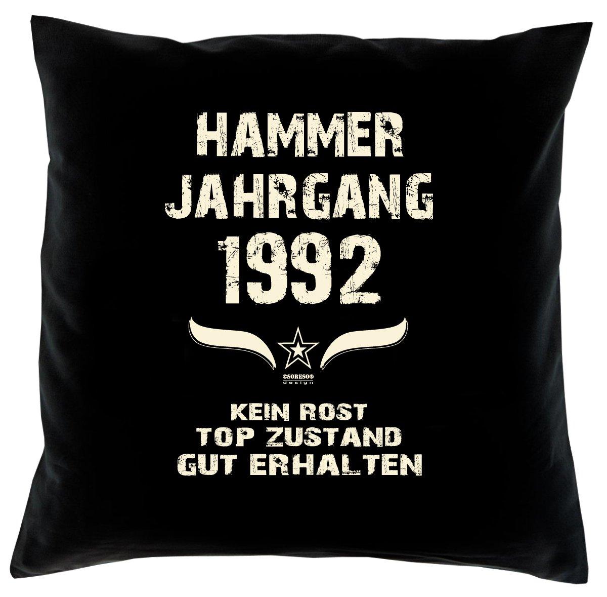 Cooles – Fun – Kissen – Sitzkissen – Zum 24. Geburtstag – Hammer Jahrgang 1992 Farbe: Schwarz – Größe: 40 x 40 cm günstig bestellen
