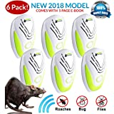 PEST CONTROL ULTRASONIC REPELLENT 6-PACK (2018 BEST MODEL) Repeller Plug In for Insects, Mice, Rats, Spiders, Fleas, Roaches, Bed Bugs, Mosquitoes, Eco-Friendly, Baby, Pet Safe & Non Toxic! WITH EBOOK (Color: White, Green)