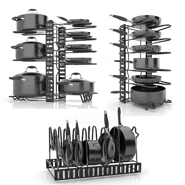 Skatco Pots And Pans Organizer Metal Pan Organizer Rack Pantry
