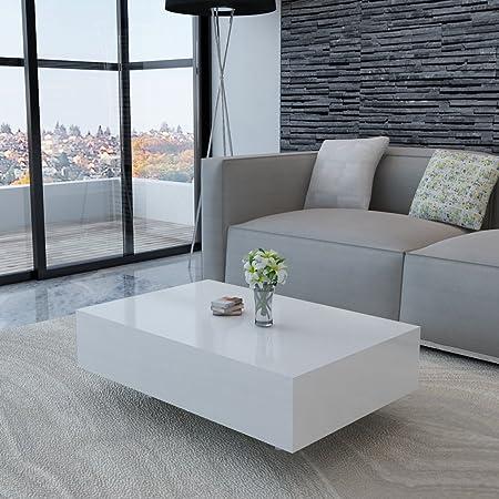 Anself Couchtisch Wohnzimmertisch Beistelltisch Tisch 85 x 55 x 31 cm Hochglanz Weiß