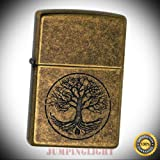 29149 Tree of Life Pocket Lighter Antique Brass - Premium Lighter Fluid (Comes Unfilled) - Made in USA!