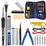 Craftsboys Soldering Iron Kit Electronics, 60W Adjustable Temperature Welding Tool, 5pcs Soldering Tips, Desoldering Pump, Soldering Iron Stand, Tweezers