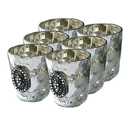 Silver Mercury Glass Jeweled Votive Cup Candle Holder Set of Six by Timeless Settings