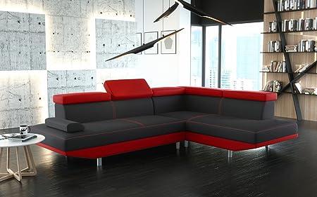 Canapé d'angle STARIO avec têtières réglables noir et rouge design