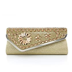 Your Gallery Womens Diamonds Rhinestone Flower Long Satin Evening Clutch