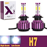 H7 LED Headlight Bulbs 20000LM 200W 6000K Cool White Low Beam / High Beam Conversion Kit 360 Degree 4 Side COB Chips Super Bright Auto Headlamps -2 Yr Warranty