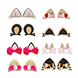 Sufermee 16 Pcs (8 pairs) Baby Girls Cat Ear Hair Bows Clips Rabbit Ear Hair Barrettes Hair Accessories for Toddlers Girls Teens Kids (Color: 8 Pairs Cat Ear Hair Bows Clips-a)