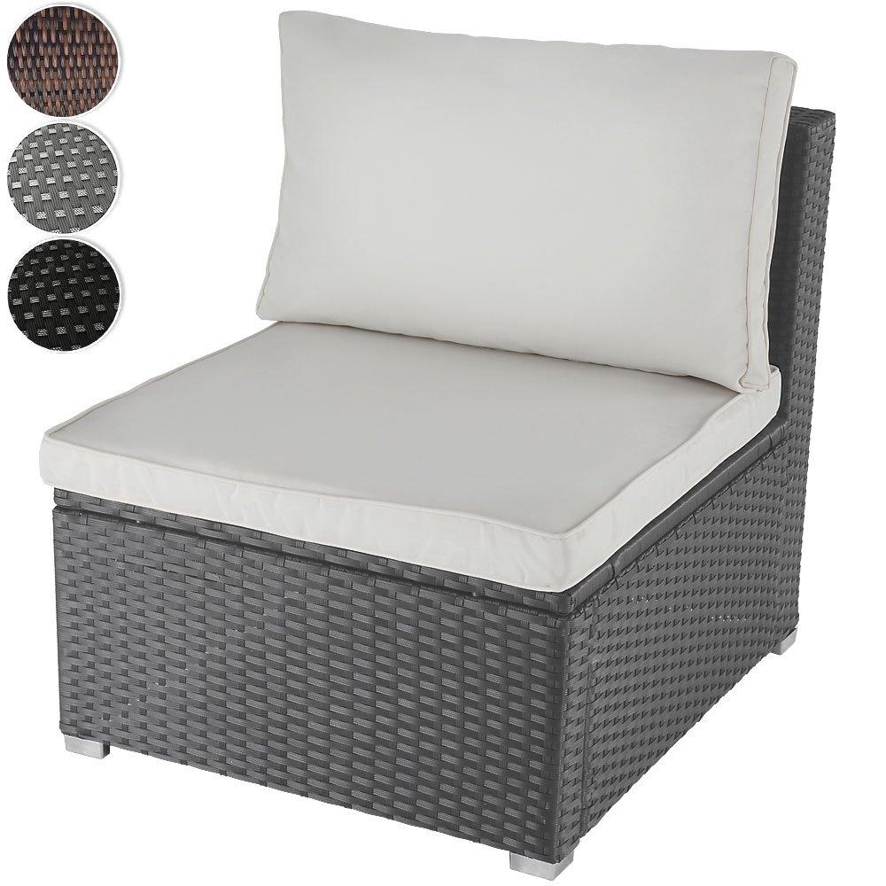 Bequemes Loungesofa aus Polyrattan für 1 Person Einsitzer Gartenmöbel inkl. Sitzkissen -Farbwahl- schwarz, grau oder braun jetzt kaufen