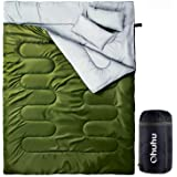 Ohuhu Double Sleeping Bag with 2 Pillows and a Carrying Bag for Camping, Backpacking, Hiking, Army Green (Color: Green)