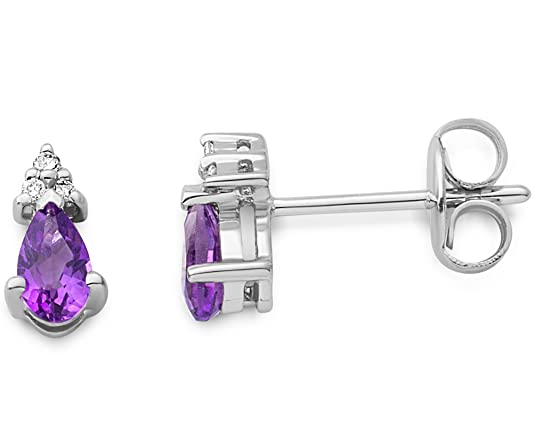 MIORE Amethyst and Diamond 9 ct White Gold Teardrop Stud Earrings