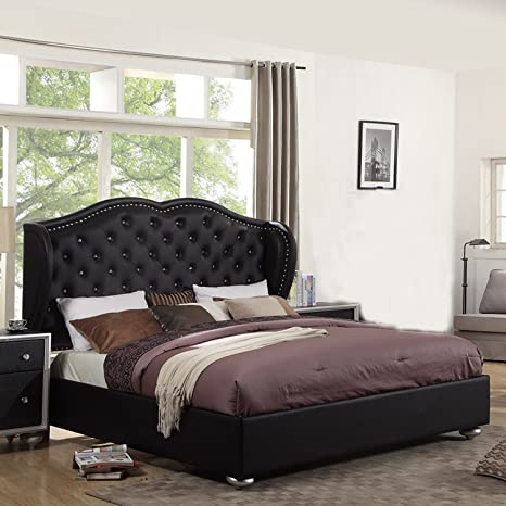 UFE Courtney Black Platform Bed Diamond Tufting with Upholstery Headboard (Eastern King)