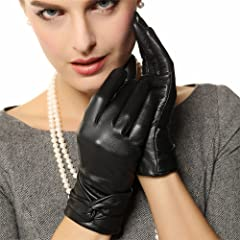 Womens Lambskin Leather Cold Weather Gloves with Crossing Bow