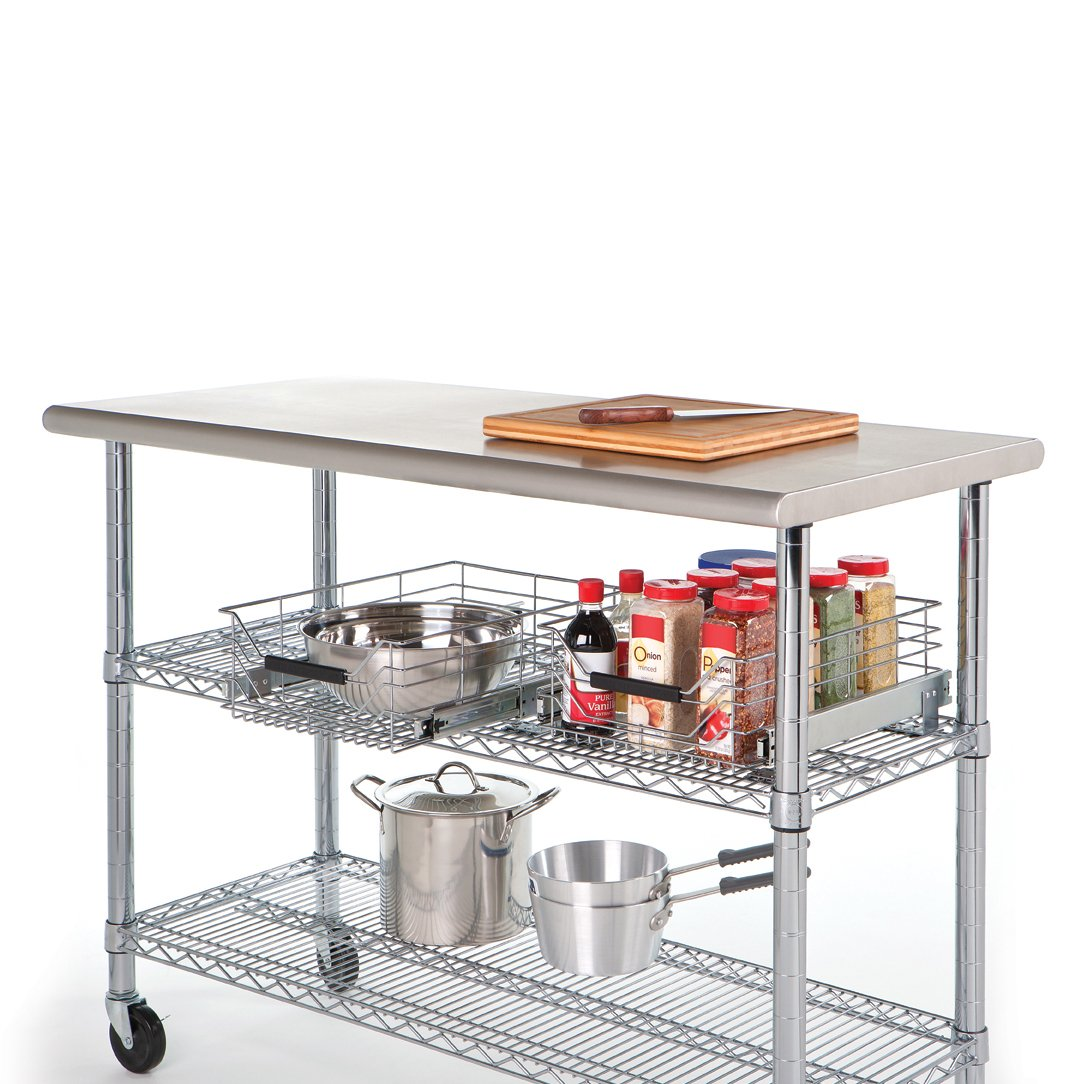 Commercial stainless steel kitchen island worktable utility storage cart wheels ebay - Commercial stainless steel kitchen island ...