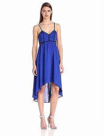 Aryn K Women's Spaghetti Strap Dress w/ Side Contrast Lace Light Black Dress SM