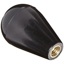 "DimcoGray Black Phenolic Ball Tapered Knob Female, Brass Insert: 1/4-20"" Thread x 7/16"" Depth, 1-3/16"" Diameter x 1-7/8"" Height x 9/16 Hub Dia"