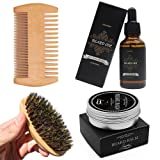 Genkent Beard Grooming Kit For Men Care-Natural Beard Oil,Natural Beard Comb,Boar Bristle Beard Brush & Natural Pure Scent Beard Balm (Tamaño: Beard Grooming Kit)