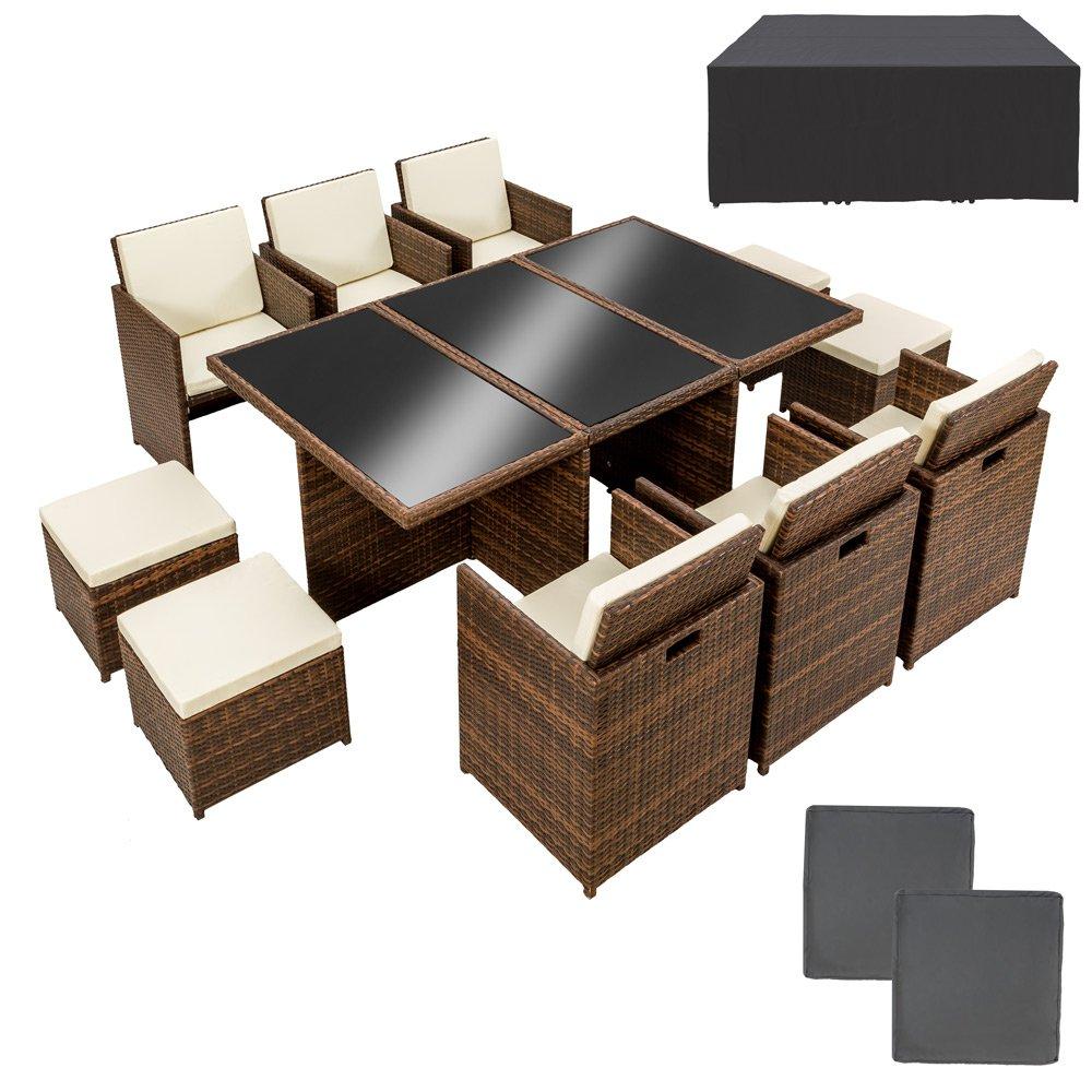 TecTake Poly Rattan Aluminium Gartengarnitur Sitzgruppe 6+1+4 braun schwarz, 6 Stühle, 1 Tisch, 4 Hocker inkl. 2 Bezugsets + Schutzhülle, Edelstahlschrauben