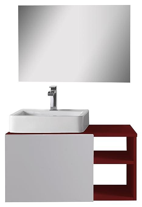 aleghe Fun-Bathroom Cabinet, Red Gloss