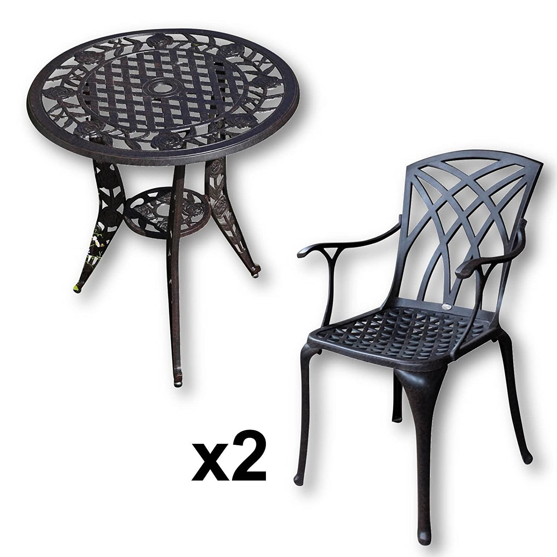 Rose 63cm rundes Tischset - 1 Rose Tisch + 2 APRIL Stühle
