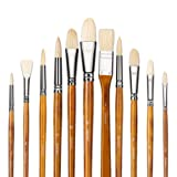 11pcs Professional 100% Natural Chungking Pure Hog Bristle Artist Paint Brushes for Acrylic Gouache Oil Painting with a Free Carrying Bont Brushes for Acrylic Gouache Painting with a Free Carrying Box (Color: Yellow Long Handle/100% Pure Hog Bristles(11pcs))