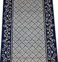 Navy Blue Scroll Border Washable Non-Skid Carpet Rug Runner - Purchase by the Linear Foot