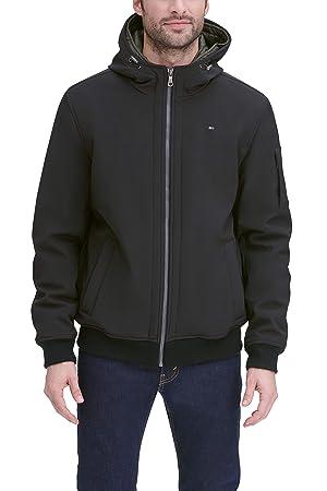 Tommy Hilfiger Men's Soft Shell Fashion Bomber with Contrast Bib and Hood, Black/Olive, M (Color: Black/Olive Bib, Tamaño: Medium)
