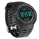 Men's Digital Sport Watch Led Military 50M Waterproof Electronic Wrist Watch with Alarm Stopwatch Dual Time Zone Count Down EL Backlight Calendar Date for Men -All Black (Color: all black)