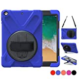 iPad Air 2 Case, TSQ Shockproof Defender Bumper Plastic Case With 360 Degree Swivel Stand, Handle Hand Grip & Shoulder Strap, For Apple Tablet Air 2 Gen Cover Skin For Kids Girls Boys A1566 A1567 Blue (Color: Blue, Tamaño: Air 2)