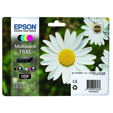 1 x Original lot de cartouches d'encre xL pour epson expression home xP - 425 c13T18164010 noir, cyan, magenta et