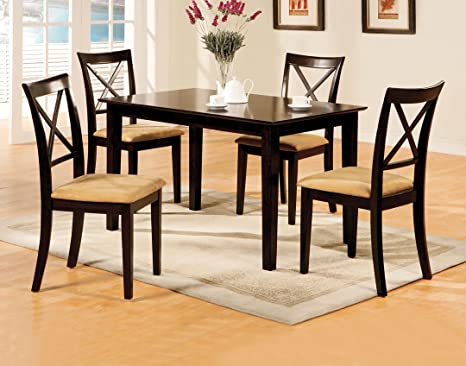 5 Pc. Melbourne I in a Contemporary Style Espresso Wood Square Table Dining Set