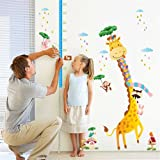 KELAI & craft art decor Cartoon Giraffe Animal Wall Decals Beautiful Height Measurement Growth Chart Wall Stickers Decals for Kids Bedroom Living Room Nursery (#2) (Color: #2, Tamaño: #B)