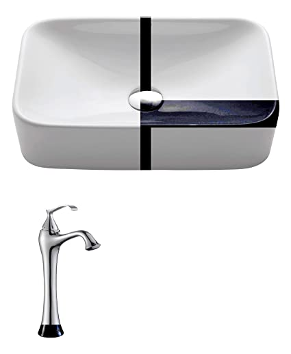 Kraus C-KCV-122-15000CH White Rectangular Ceramic Sink and Ventus Faucet Chrome