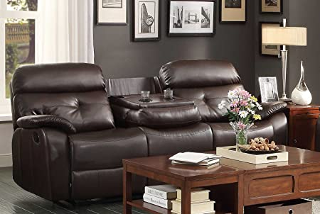 Homelegance Evana Double Reclining Sofa in Dark Brown Leather