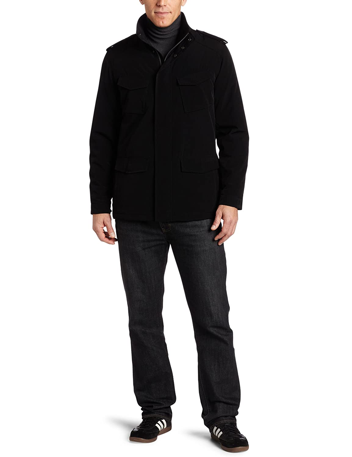 Perry Ellis Portfolio Men's Polytech Military Jacket, Black, Large $32.96
