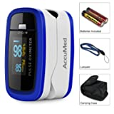 AccuMed CMS-50D1 Finger Pulse Oximeter Blood Oxygen Sensor SpO2 for Sports and Aviation. Portable and Lightweight with LED Display, 2 AAA Batteries, Lanyard and Travel Case (Blue) (Color: Blue, Tamaño: CMS-50D1)