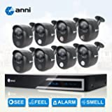 ANNI 16CH 1080N HDMI DVR Security Camera System Home CCTV Alarm Video Recorder Surveillance Kit, 8 x 1080p Wired Infrared Cameras, Built-in Gas Sensor Alarm, PIR Body Detection, Siren Sounds (Color: 16CH 16CAM)