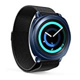 EloBeth Compatible Samsung Gear Sport Watch Band, Milanese Watch Band 20mm Mesh Replacement Watch Bracelet Stainless Steel Watch Strap for Sumsung Gear Sport Smart Watch(Black) (Color: Black)
