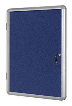 Bi-office Vt770107150 1800mm x 1200mm Blue Felt Aluminium Frame Lockable Internal Display Case
