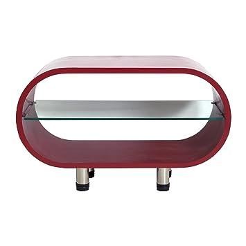 Mesa de café televisión salón rojo salón estante de cristal de estilo moderno (Cod. 0-1161)