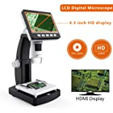YINAMA LCD Digital Microscope 4.3 inch 50X-1000X Magnification Zoom Compound Microscope 8 LED Adjustable LED Light Video Microscope