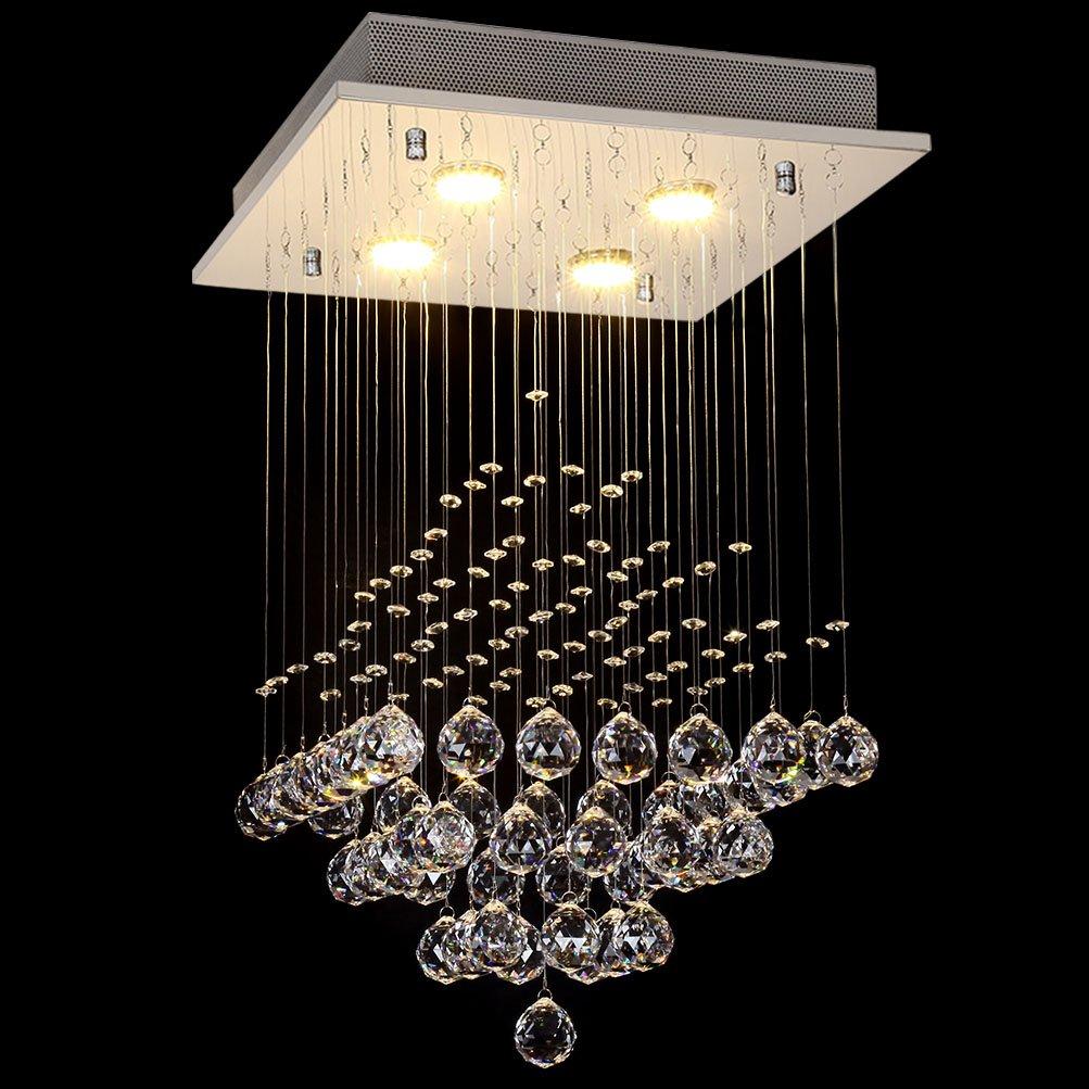 Ella Fashion ® Kronleuchter Tropfenform Beleuchtung  LED Kristall Deckenleuchte Ball Befestigung Für Studie Living Dining  Kinderzimmer, Foyer L15.8 X W15.8 X ...