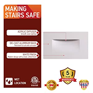 OSTWIN LED Step Light Indoor/Outdoor Stair Light Fixture, Horizontal Stairway Light, Dimmable, White Finish, 3 Watt, 5000 K (Day Light) 100 LM, ETL Listed (Color: 5000k(day Light), Tamaño: 1 Pack)